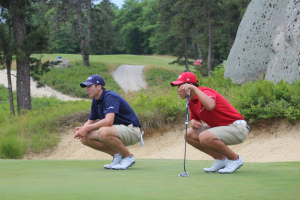 Burns, Sam and Zang, Andy spot putts together at Day 2 Wyndham Cup 2014 (2)