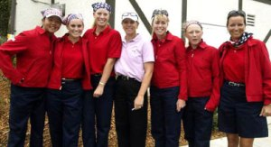 Jane Park, Mallory Code, Brittany Lincicome, Paula Creamer, Morgan Pressel and Captain Sherri Steinhauer with Annika Sorenstam at the 2002 PING Junior Solheim Cup